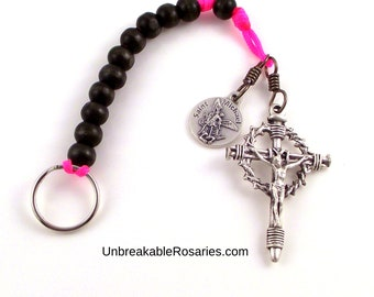 Military Paracord Keychain Rosary St Michael One Decade Chaplet w Italian Nail Crucifix Made By Army Combat Vet   Pink and Black