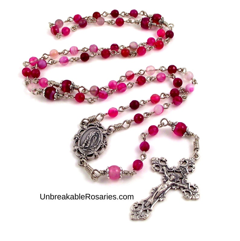 Virgin of Lourdes Rose Agate Rosary Beads w Saint Bernadette image 0