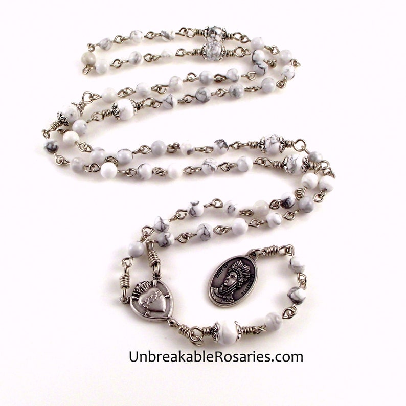 Rosary of Our Lady of Tears In White Magnesite with Our Lady image 0