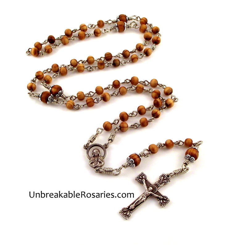 Sacred Heart of Jesus Wood Rosary Beads w Virgin of Carmel image 0
