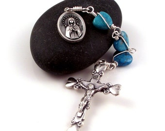 Maria Rosa Mystica Hail Mary Chaplet Rosary Beads, Turquoise Magnesite Hearts w Four Heart Italian Crucifix by Unbreakable Rosaries