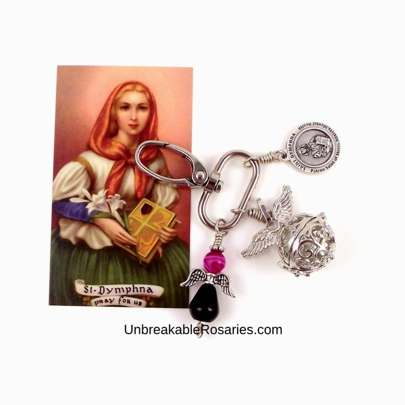 Saint Dymphna Rose Agate and Onyx Angel Charm with Prayer Box image 0