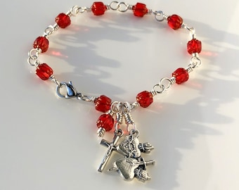 Rosary Bracelet Sacred and Immaculate Twin Hearts WireWrapped Red Cathedral Glass by Unbreakable Rosaries