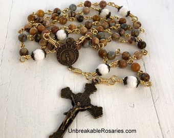 Stella Maris Our Lady, Star of The Sea Bronze Rosary Beads In Laguna Lace Agate and Carved Tridacna by Unbreakable Rosaries