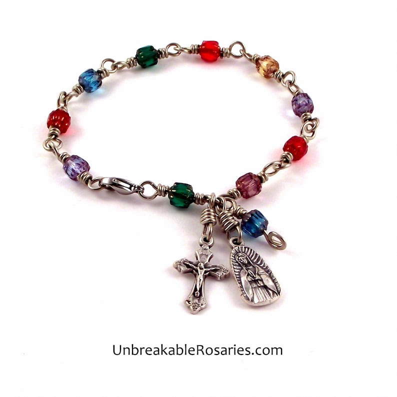 Virgin of Guadalupe Rosary Bracelet Wire-Wrapped Rainbow Czech image 0