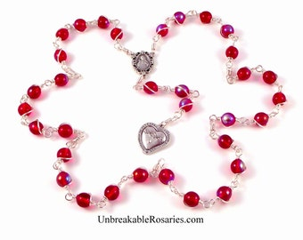 Most Precious Blood of Jesus Rosary Chaplet in Siam Red AB Czech Glass Wire Wrapped or Chain Link by Unbreakable Rosaries