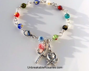 Rosary Bracelet Miraculous Medal Rose In Rainbow Millefiori Glass WireWrapped by Unbreakable Rosaries