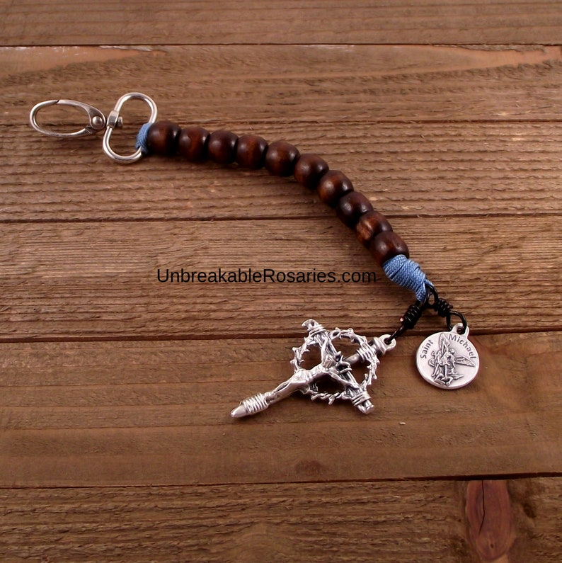 Military Paracord Keychain Rosary St Michael One Decade image 0