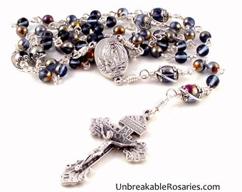 Lourdes Holy Water Rosary Beads Blue Sapphire Marea Czech Glass Beads With Pardon Crucifix by Unbreakable Rosaries