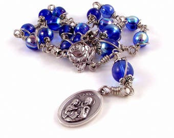 St Ann Anne Rosary Chaplet In Sapphire Blue Czech Glass Beads Wire Wrapped or Chain Link Unbreakable Rosary