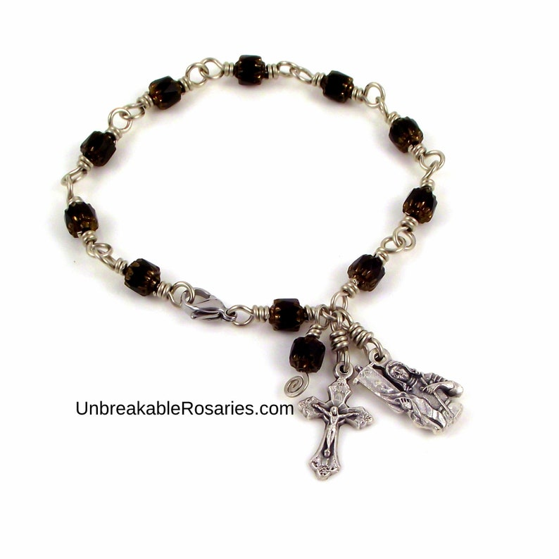 Saint Joan of Arc Rosary Bracelet Wire Wrapped Black Cathedral image 0