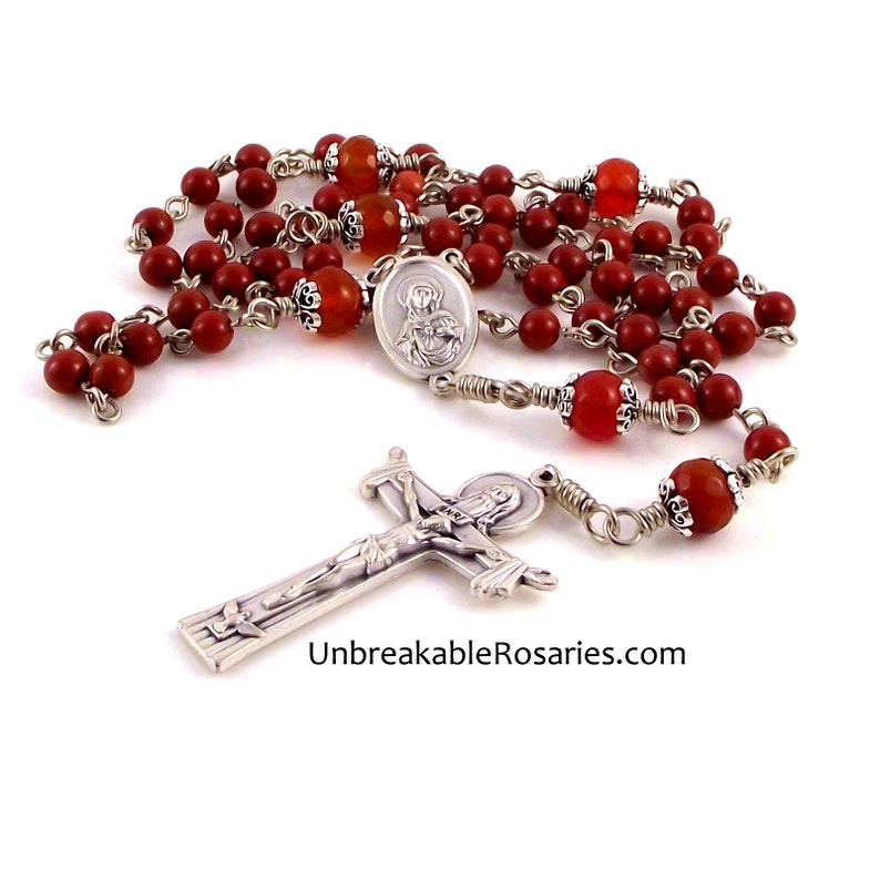 Sacred Heart Immaculate Heart Rosary Beads In Red Jasper and image 0