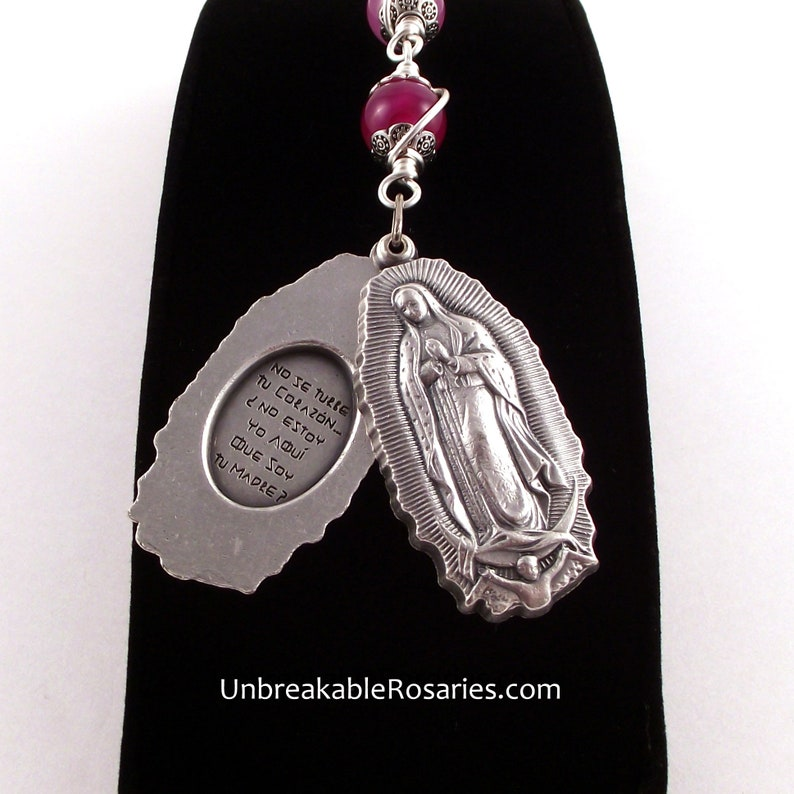 Virgin of Guadalupe Swing Locket Three Hail Mary Rosary image 0