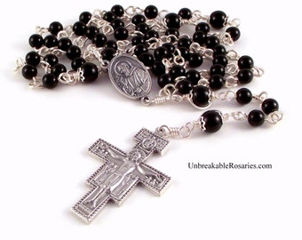 St Padre Pio Relic Rosary Beads In Black Onyx With San Damiano Crucifix by Unbreakable Rosaries