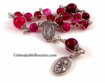 St Ann Anne Rosary Chaplet In Striped Rose Agate Beads Wire Wrapped Unbreakable Rosary