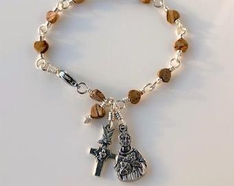 Saint Francis Rosary Bracelet Picture Jasper w Italian Sacred Heart Cross by Unbreakable Rosaries