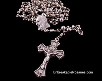 Stainless Steel Saint Padre Pio Small Rosary Beads Rosary Necklace by Unbreakable Rosaries