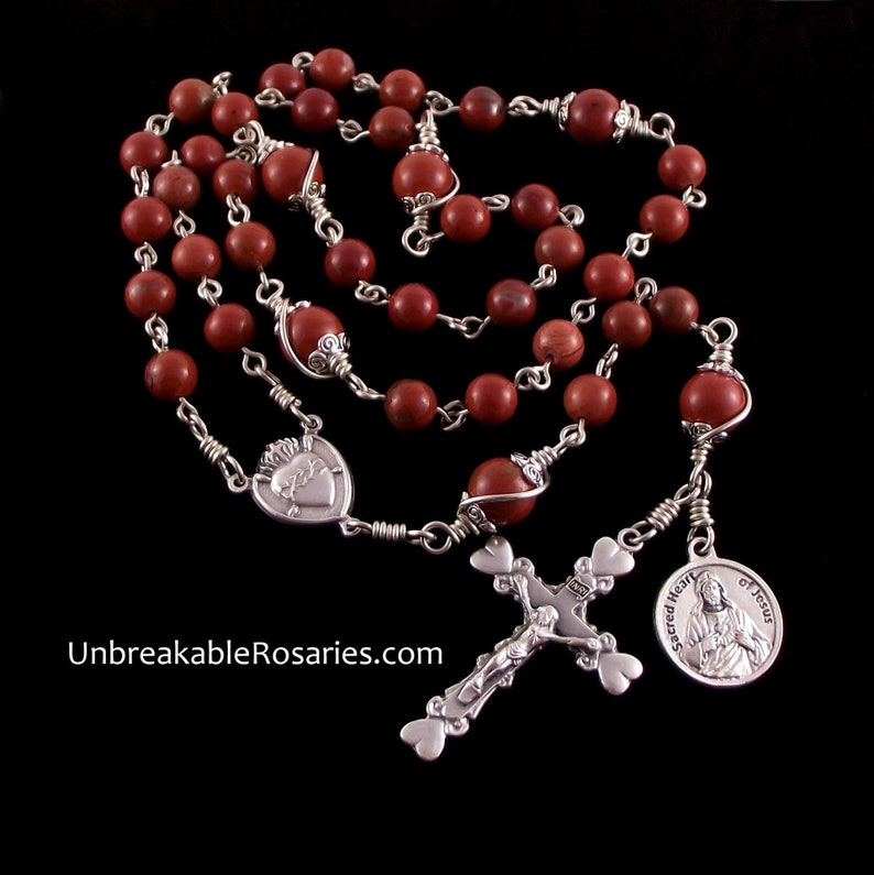 Sacred Heart of Jesus Rosary Chaplet in Red Jasper by image 0