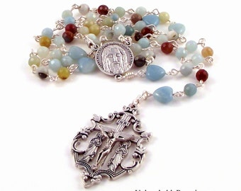 Amazonite Holy Face of Jesus Rosary Beads With Mary Magdalene Crucifix by Unbreakable Rosaries