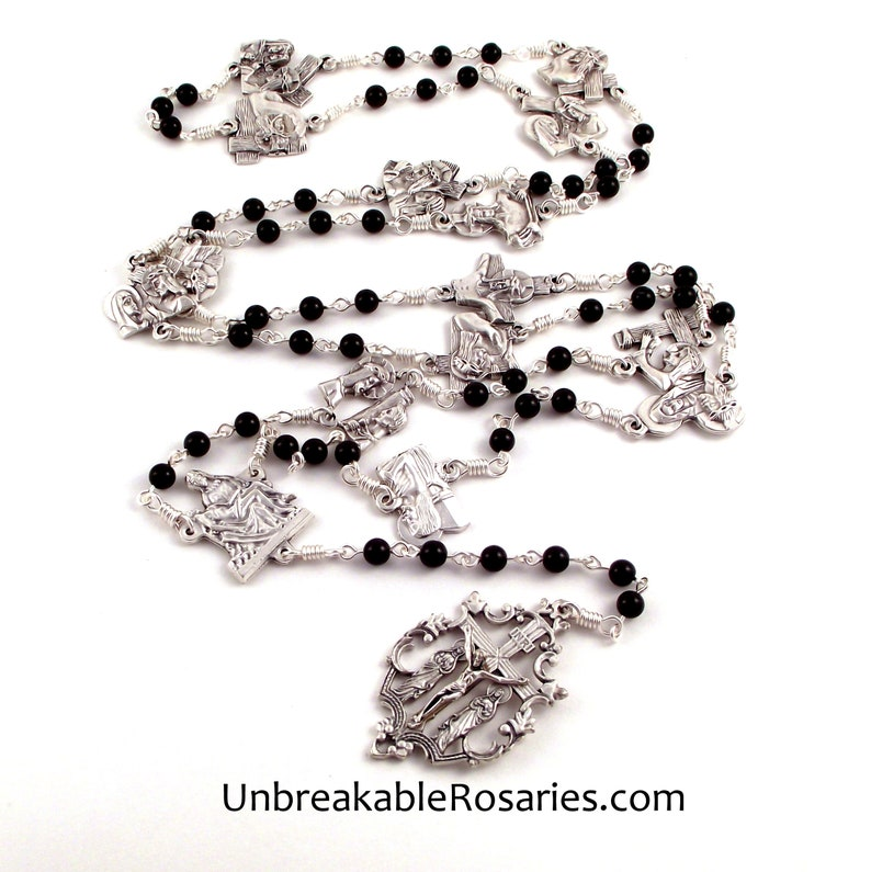 Stations of The Cross Way of The Cross Rosary Chaplet Onyx and image 0