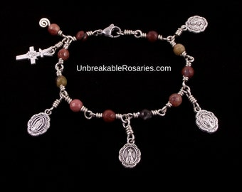 Visions of The Virgin Mary Rosary Bracelet Wire Wrapped In Facted Portuguese Agate by Unbreakable Rosaries Fatima Lourdes Guadalupe