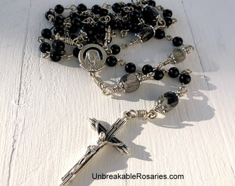 Sorrowful Mother Virgin Mary Rosary Beads Onyx and Black Lined Agate by Unbreakable Rosaries