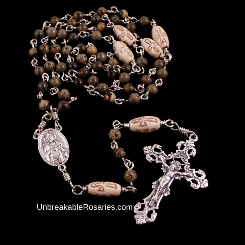 Sacred Heart of Jesus Immaculate Heart of Mary Rosary Beads image 0