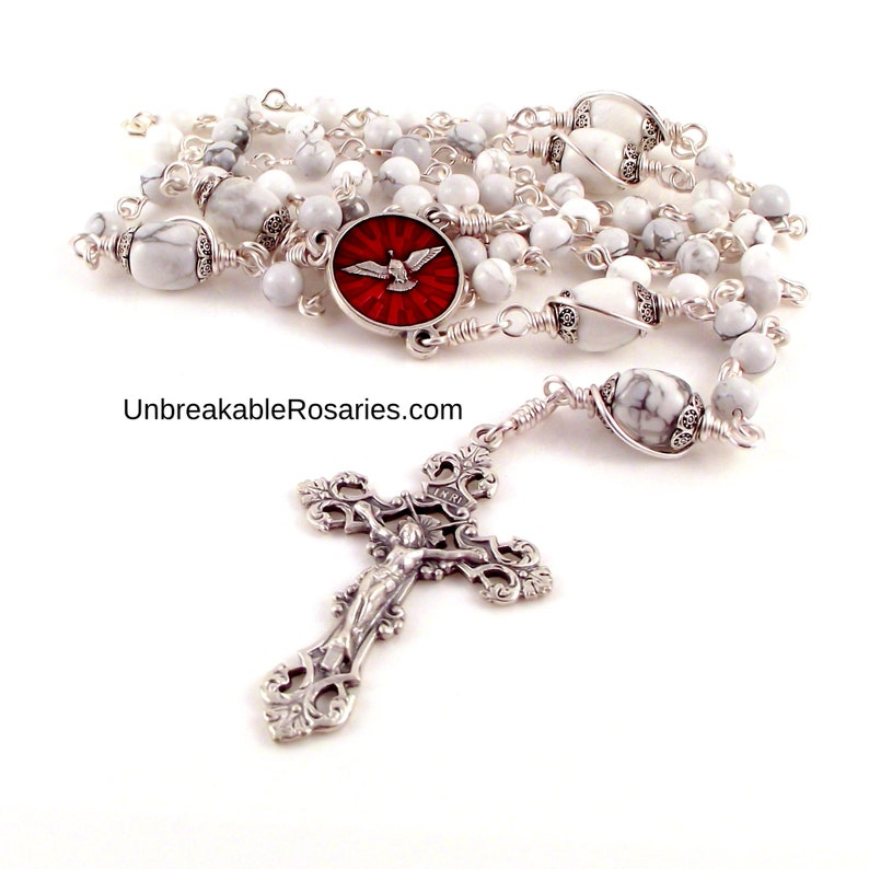 Holy Spirit Rosary Beads Red Enamel Gifts Of Holy Spirit image 0