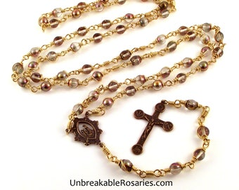Weeping Madonna Our Lady of La Salette Bronze Wire Wrapped Rosary | Unbreakable Rosaries
