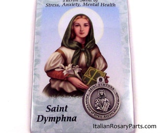 Saint Dymphna Holy Card, Laminated with Italian Medal  Patron Saint of Stress and Anxiety