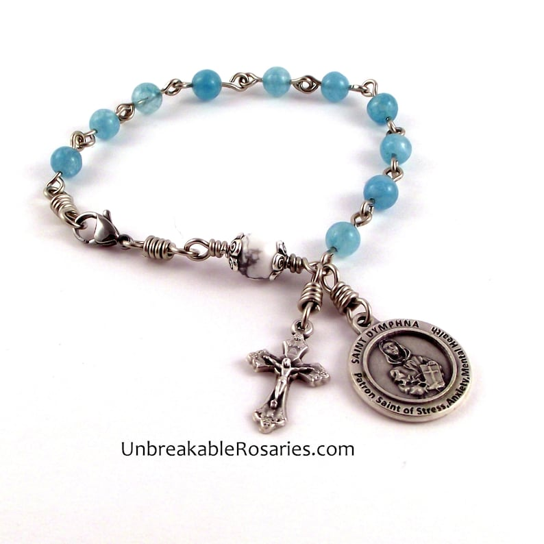 St Dymphna Rosary Bracelet In Blue Marble and White Magnesite image 0