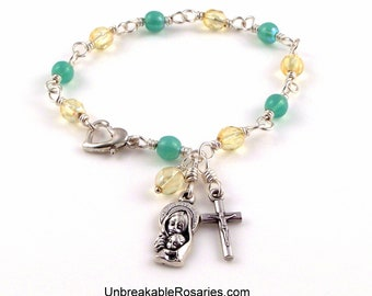Rosary Bracelet Virgin Mary with Baby Jesus In Green and Yellow Czech Glass Beads Wire Wrapped by Unbreakable Rosaries