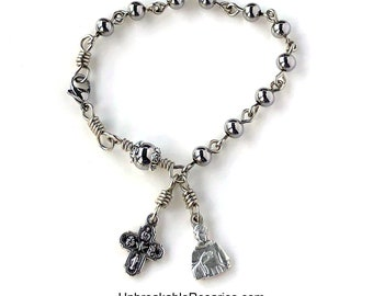 Rosary Bracelet Stainless Steel Bead Saint Peregrine Patron Saint of Cancer Patients, Survivors w Italian Medals by Unbreakable Rosaries