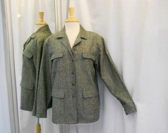 36269d25ad36 Vintage 1980s 80s Green Jacket Silk Tweed Jacket Multiple Pockets Button  Front 80s Fashion Lightweight Jacket 80s Jacket Size Medium