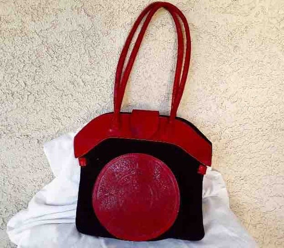 VIntage Nineties Black and Red Suede and Leather H