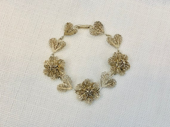Vintage 1930s 30s Filigree Bracelet with Roses and
