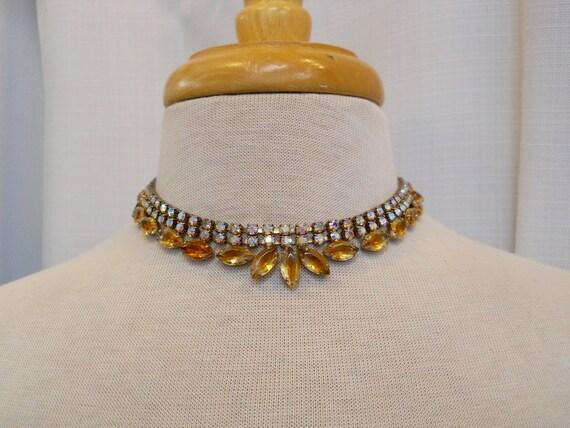 Vintage 1950s 50s Rhinestone Choker Amber Yellow a