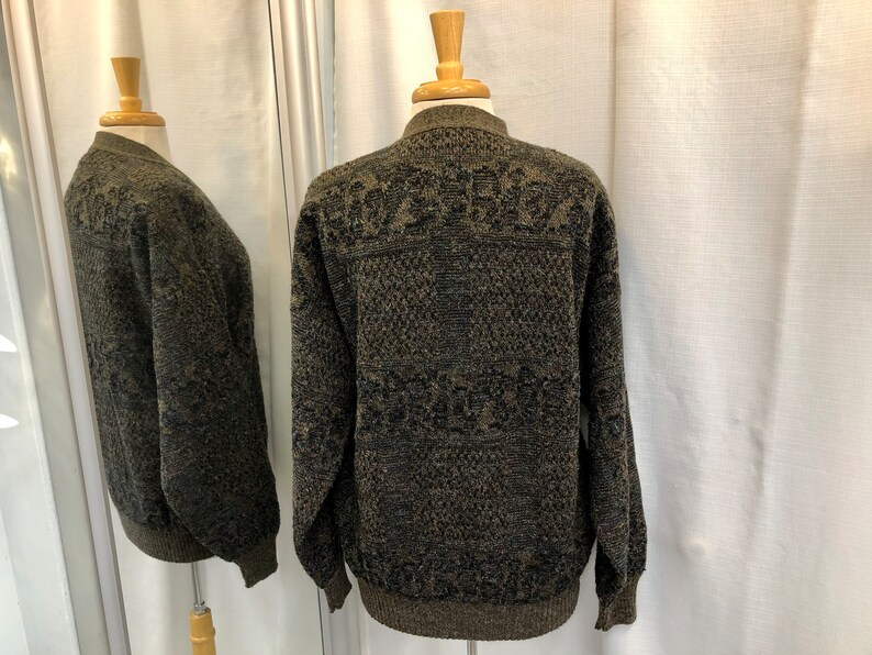 Vintage 1980s 80s Brown Taupe Grandad Cardigan Sweater by Creations Bori/'s Made in Italy 80s Men/'s Wear 80s Fashion Size M L