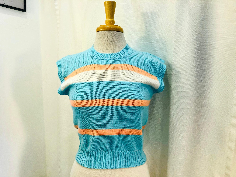 80s Sweatshirts, Sweaters, Vests | Women Vintage 1980S 80S Bright Aqua Sweater Vest With Peach  White Stripes By Silver Unicorn Fashion Size Xs S Petite $24.00 AT vintagedancer.com
