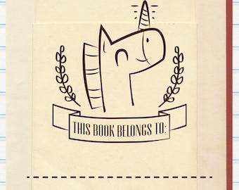 Unicorn Book Stamp, This Book Belongs to Stamp
