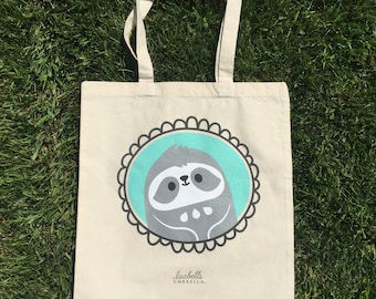 Sloth Tote Bag : Book bag, grocery tote, library bag