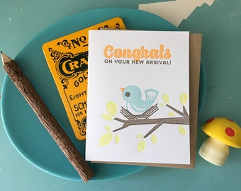 Congrats on Your New Arrival Baby Bird, New Baby Letterpress Card