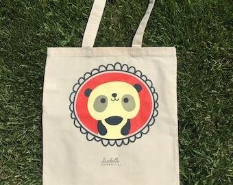 Panda Tote Bag : Book bag, grocery tote, library bag