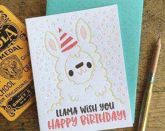 Llama Wish You Happy Birthday Letterpress Card