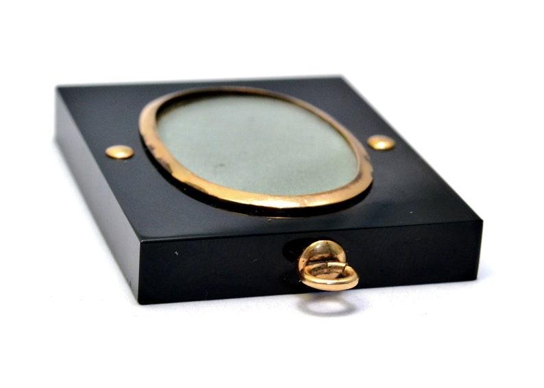 Antique Victorian onyx gold filled rectangular locket pendant