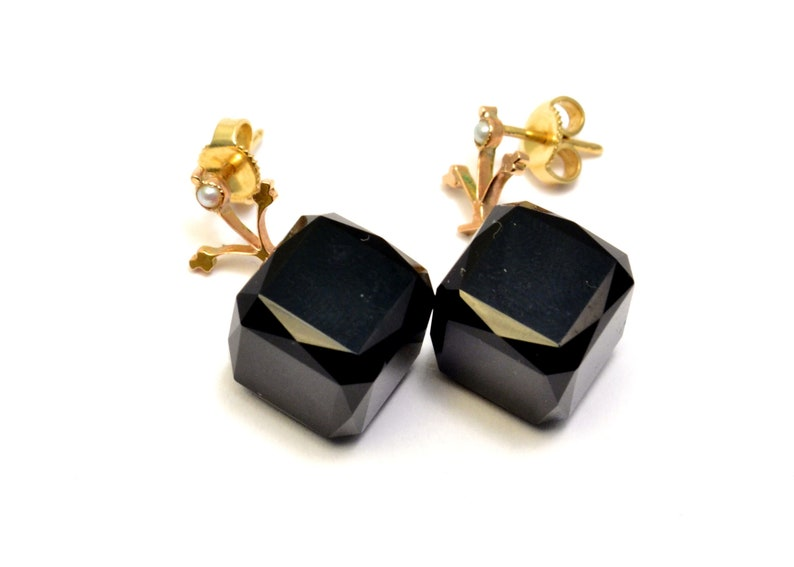 Antique Victorian 10k gold seed pearl onyx cube drop earrings