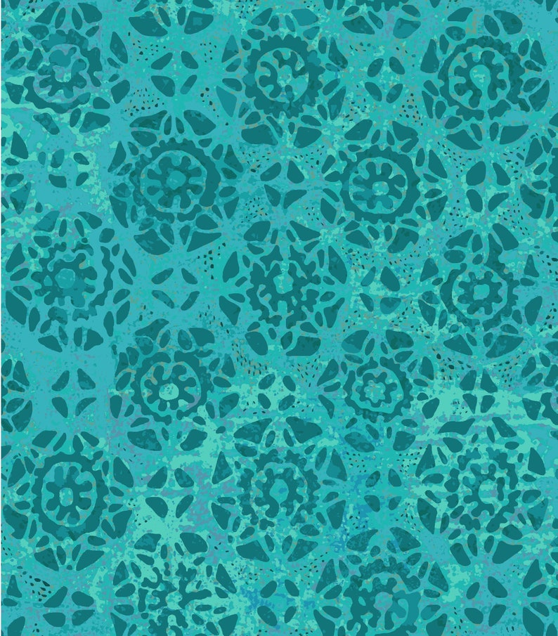 BLUE printed Lace Fabric image 0