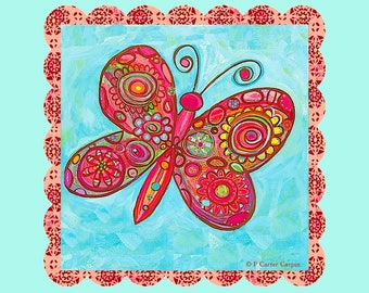 Funky Butterfly fabric block/panel