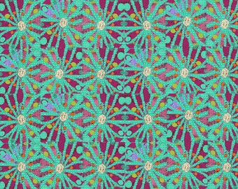 Aqua Flower Fabric
