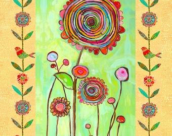 Brilliant swirl flower fabric block